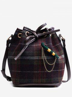 String Plaid Crossbody Bag - Purple