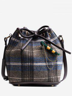 String Plaid Crossbody Bag - Blue