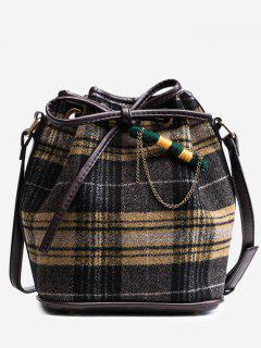 String Plaid Crossbody Bag - Yellow