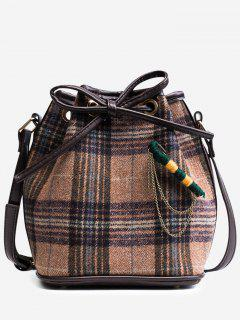 String Plaid Crossbody Bag - Khaki
