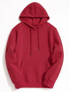 Fleece Lining Kangaroo Pocket Hoodie - Red 2xl