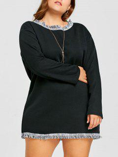Plus Size Fleece Lined Fringed Tunic Dress - Black 2xl