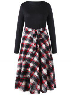 Plus Size Plaid Fit And Flare Dress - Black 5xl