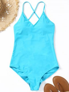 Ruched Low Back High Cut Swimwear - Lake Blue L