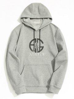 Fleece Lining Kangaroo Pocket Graphic Hoodie - Gray L
