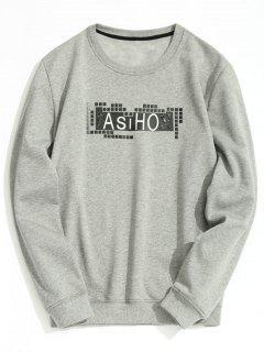 Crew Neck Fleece Lining Graphic Sweatshirt - Gray 2xl