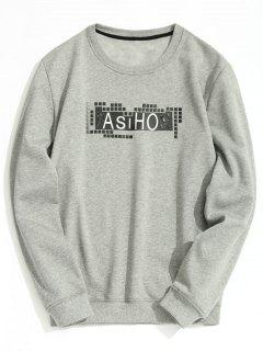 Crew Neck Fleece Lining Graphic Sweatshirt - Gray M
