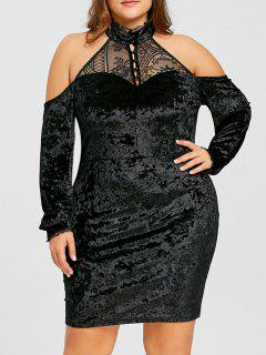 Plus Size Velvet Open Shoulder Bodycon Dress - Black 3xl