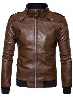 Zip Up Epaulet Faux Leather Bomber Jacket - Coffee L