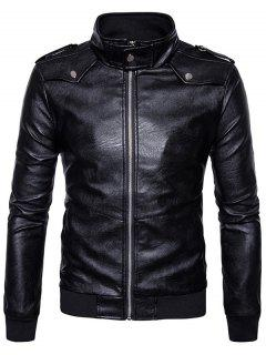 Zip Up Epaulet Faux Leather Bomber Jacket - Black M