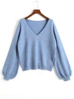 Plain Lantern Sleeve V Neck Sweater - Blue