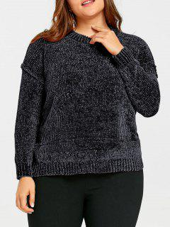 Plus Size Drop Shoulder Ribbed Velvet Sweatshirt - Black Grey 3xl