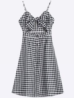 Bow Tied Cut Out Checked Midi Dress - Checked M