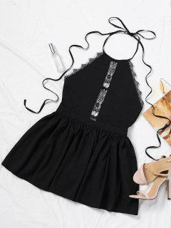 Halter Lace Panel Backless Romper - Black S