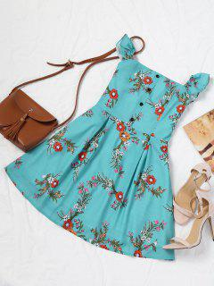 Half Buttoned Floral Off Shoulder Mini Dress - Blue Green S