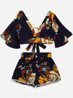Floral Cropped Top Und Spitzenbesatz Hoch Taillierte Shorts - Schwarzblau L