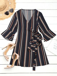 Flouncy Sleeve Wrap Stripes Mini Dress - Deep Blue Xl