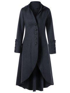 Manteau à Capuche à Lacets Avec Boutons - Gris Foncé S