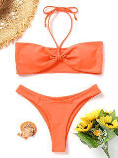 Gepolstertes Bandeau Bikini Set - Fluoreszierende Orange S