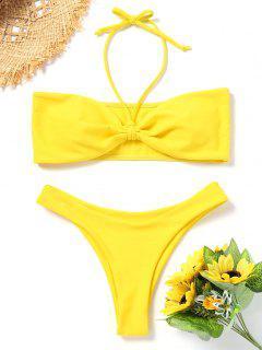 Gepolstertes Bandeau Bikini Set - Gelb S