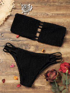 Soutien-gorge Bikini Smocké Bandeau Avec Des Bas - Noir S