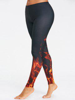 Fire 3D Printed Workout Leggings - Black L