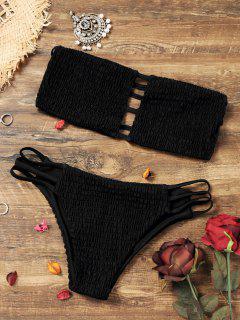 Bandeau Smocked Bikini Bra With Bottoms - Black S
