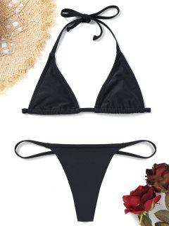 Bralette Bikini Bra With Thong Bottoms - Black M