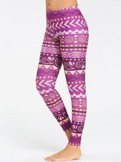 Chevron Pattern Breathable Yoga Tights - Purple M