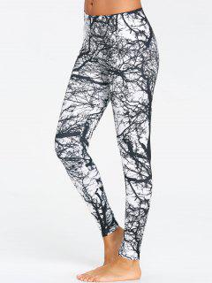 Tree Trunk Printed Workout Leggings - Black M