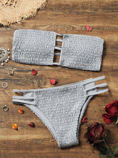 Bandeau Smocked Bikini Bra With Bottoms - Gray S
