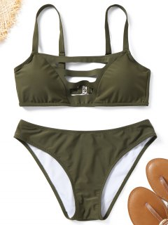 Ladder Cut Padded Bathing Suit - Army Green M