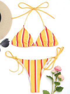 Conjunto De Bikini De Cadena De Rayas Halter - Amarillo S