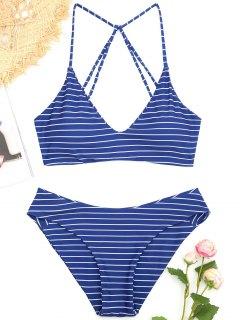 Caged Striped Bikini Set - Deep Blue M