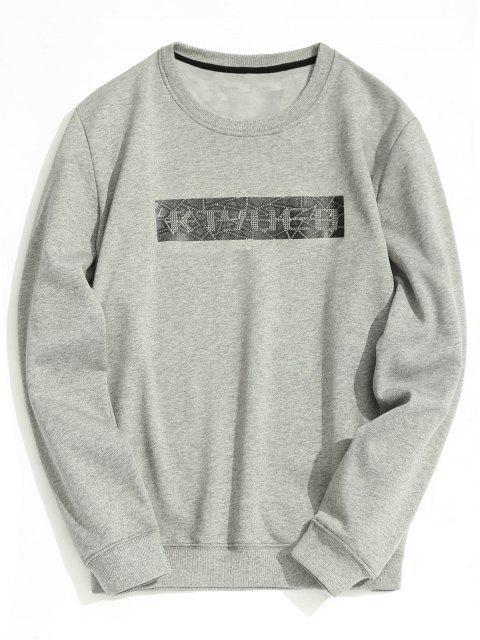 unique Crew Neck Fleece Lining Sweatshirt - GRAY M Mobile