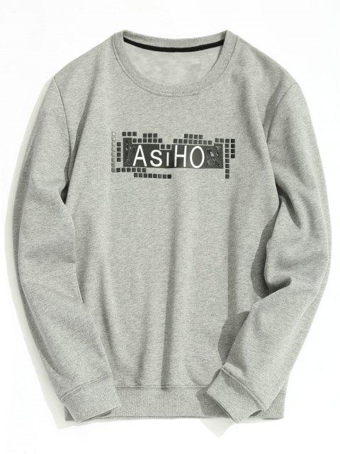 womens Crew Neck Fleece Lining Graphic Sweatshirt - GRAY M Mobile