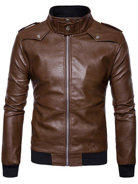 affordable Zip Up Epaulet Faux Leather Bomber Jacket - COFFEE XL Mobile