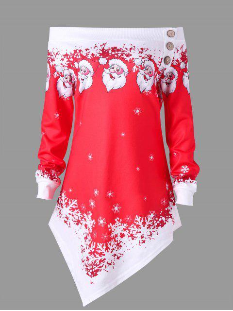 Sweatshirt Asymétrique à Épaules Dénudées Imprimé de Noël Grande Taille - Rouge XL Mobile