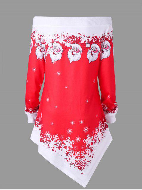 affordable Plus Size Christmas Off The Shoulder Asymmetric Sweatshirt - RED XL Mobile