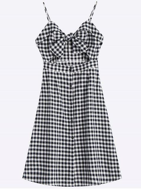 latest Bow Tied Cut Out Checked Midi Dress - CHECKED L Mobile