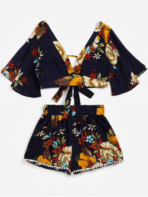 buy Floral Cropped Top and Lace Trim High Waisted Shorts - PURPLISH BLUE M Mobile