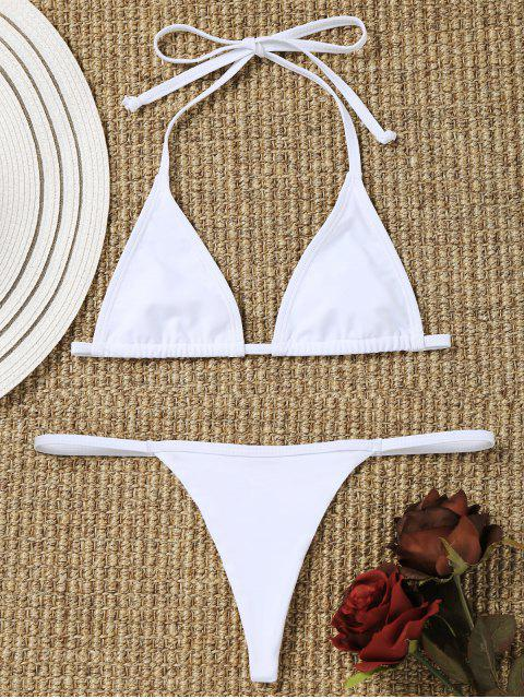 ladies Bralette Bikini Bra with Thong Bottoms - WHITE L Mobile
