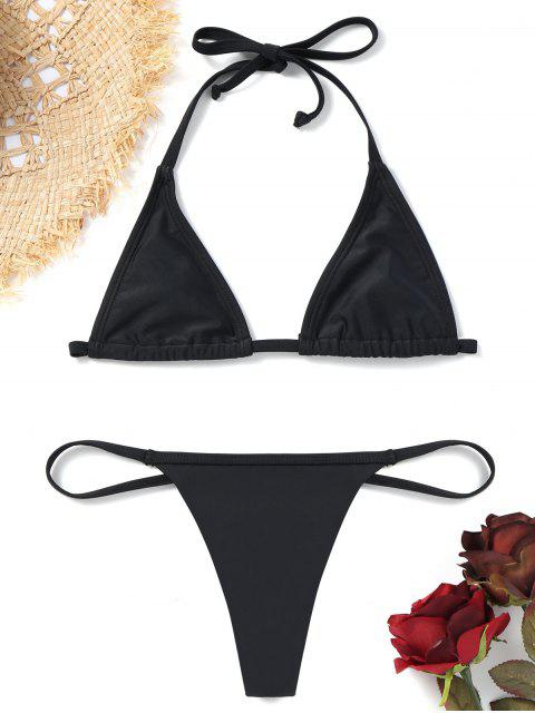 sale Bralette Bikini Bra with Thong Bottoms - BLACK L Mobile