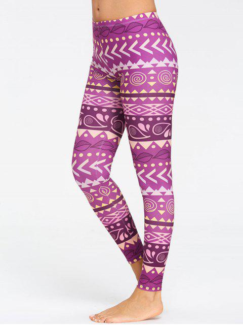 trendy Chevron Pattern Breathable Yoga Tights - PURPLE M Mobile