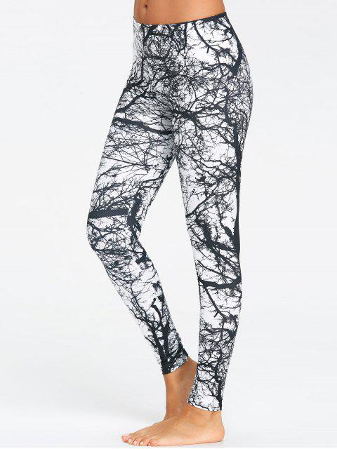 latest Tree Trunk Printed Workout Leggings - BLACK L Mobile