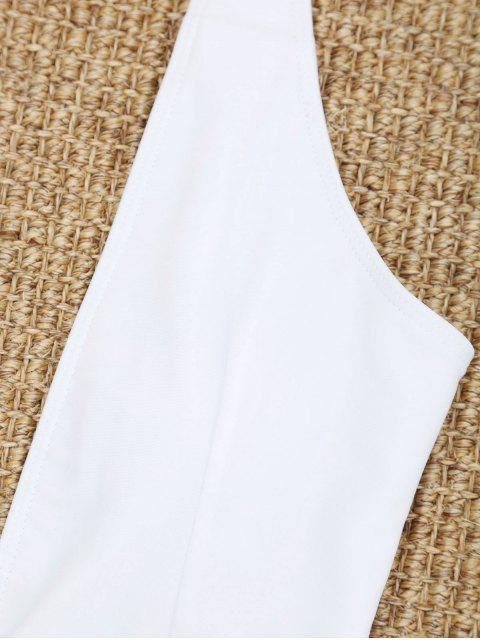 Maillot de Bain Coupe Haute à Col Plongeant - Blanc M Mobile