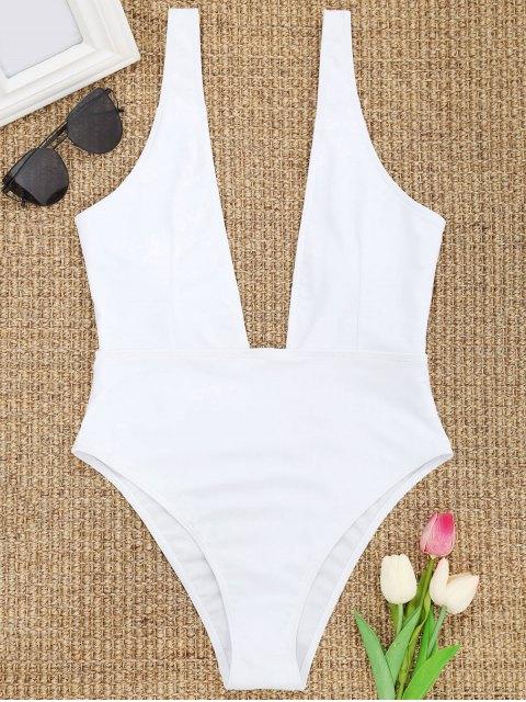 高切切入領泳裝 - 白色 M Mobile