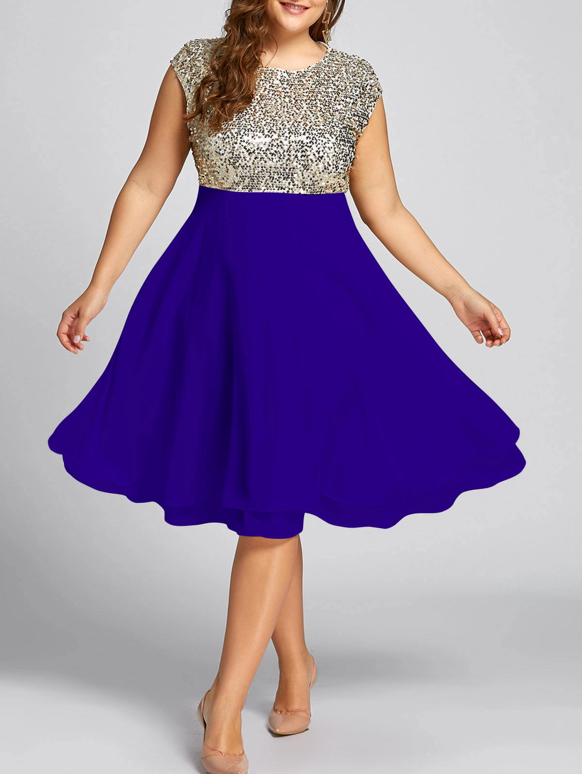Flounce Plus Size Sequin Sparkly Cocktail Dress 234185920
