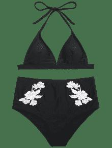 53fedc87fa6cd 59% OFF  2019 Floral Padded High Waisted Bikini Set In BLACK S