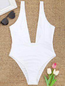 عالية قطع يغرق الرقبة ملابس السباحة - أبيض L